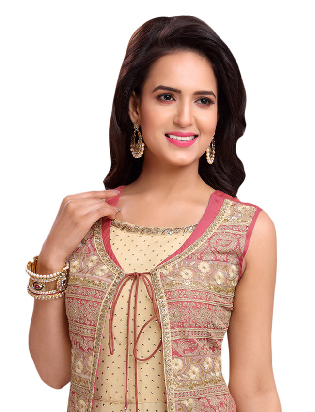 Rose pink beige jacket style suit with sequins zari and lucknowi embroidery