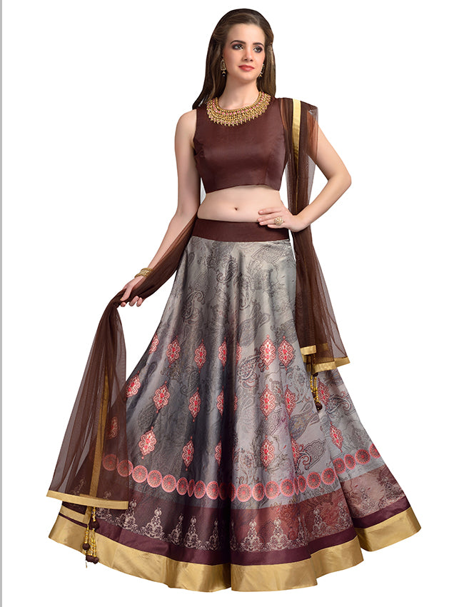 Grey brown printed indowestern lehenga with handwork
