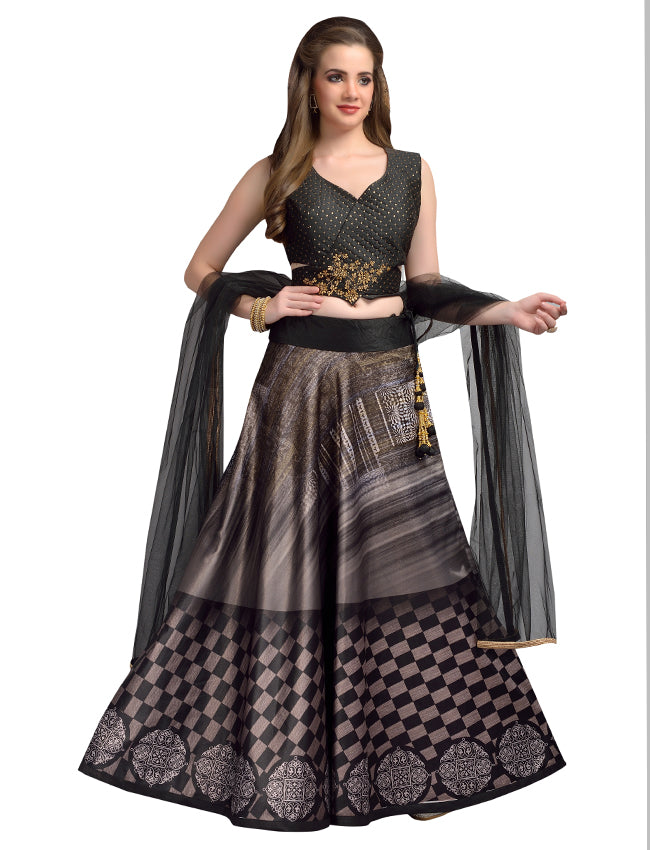 Black printed indowestern lehenga with handwork