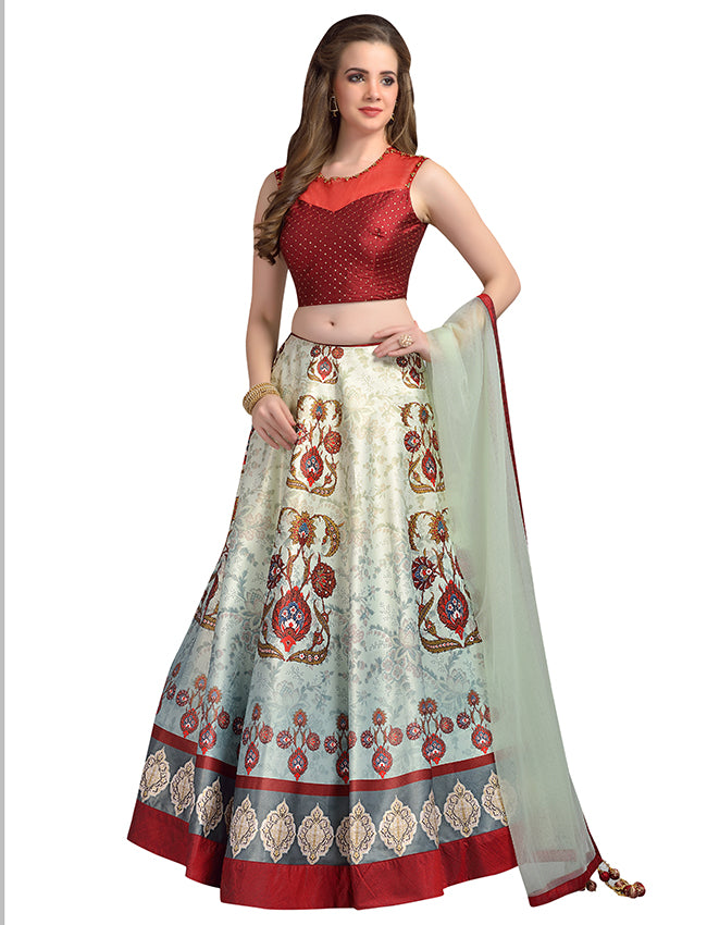 pastel green and maroon printed indowestern lehenga with handwork