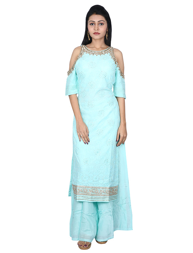 Mint palazzo suit with lucknowi and mirror work