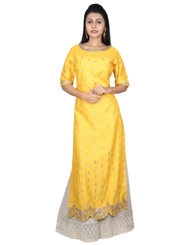 Yellow palazzo suit with handwork and zari embroidery