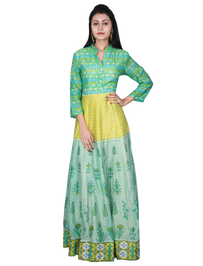 Pastel green printed anarkali suit