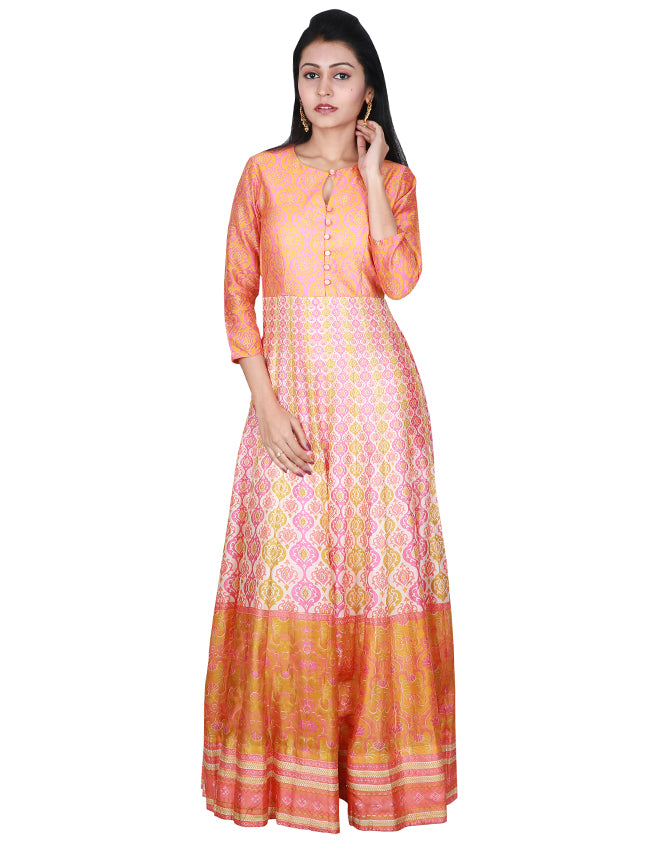 Rose pink printed anarkali suit