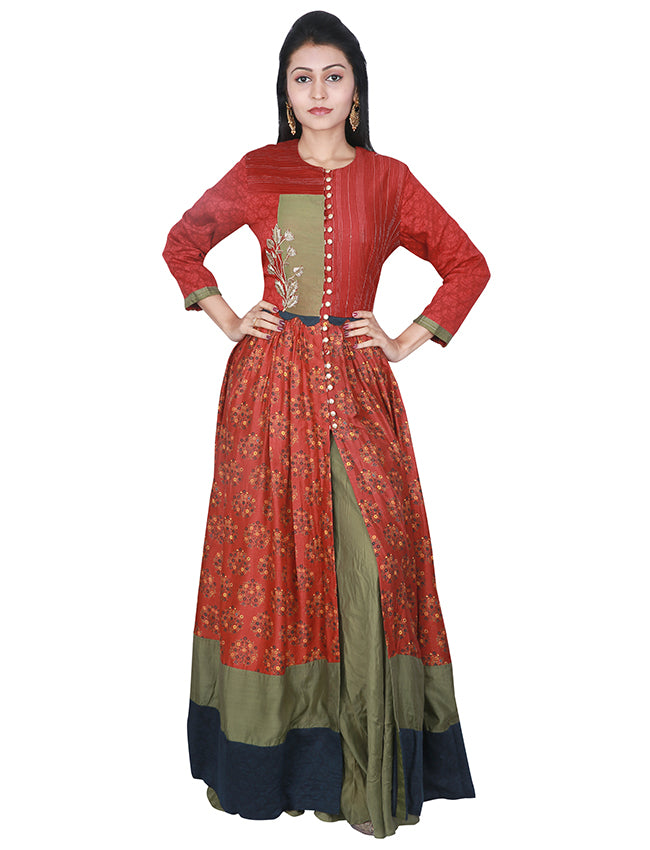 Rust printed palazzo suit with zardosi work