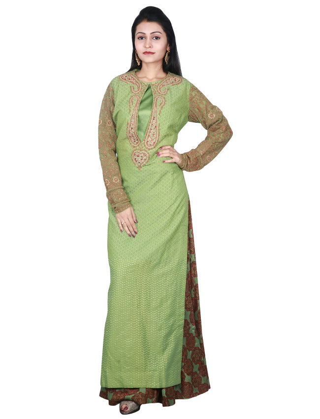 Olive green palazzo suit with zari embroidery