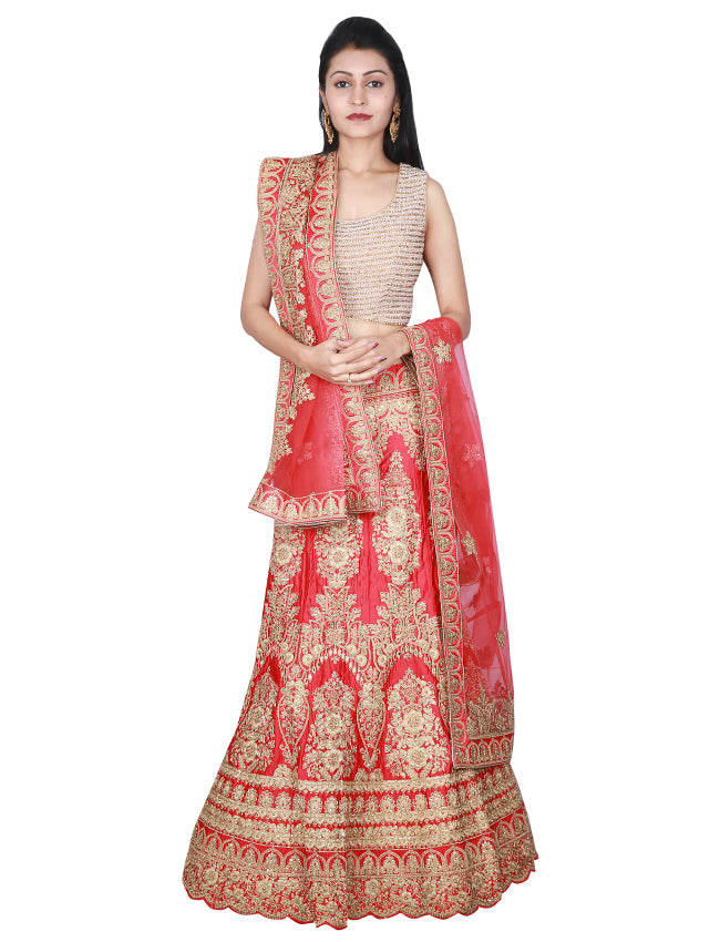 Cherry red unstitched bridal lehenga with zari cording and handwork