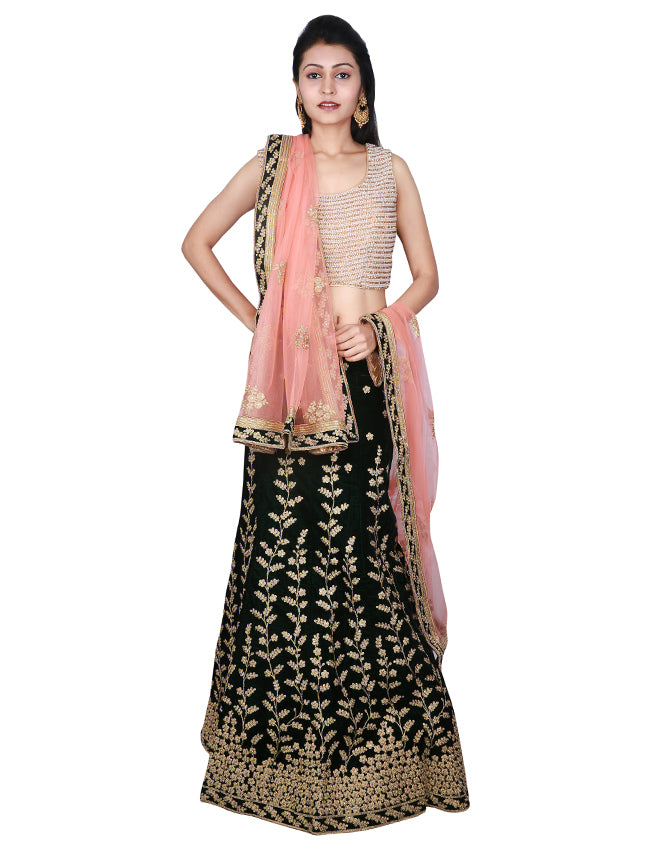 Bottle green unstitched lehenga with zari cording