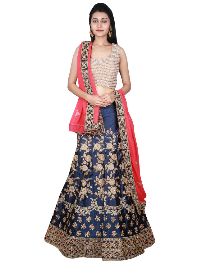 Navy blue unstitched bridal lehenga with kundan and zari cording