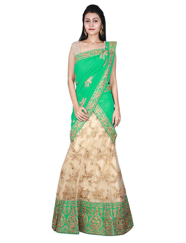 Beige and sea green unstitched bridal lehenga with zari cording