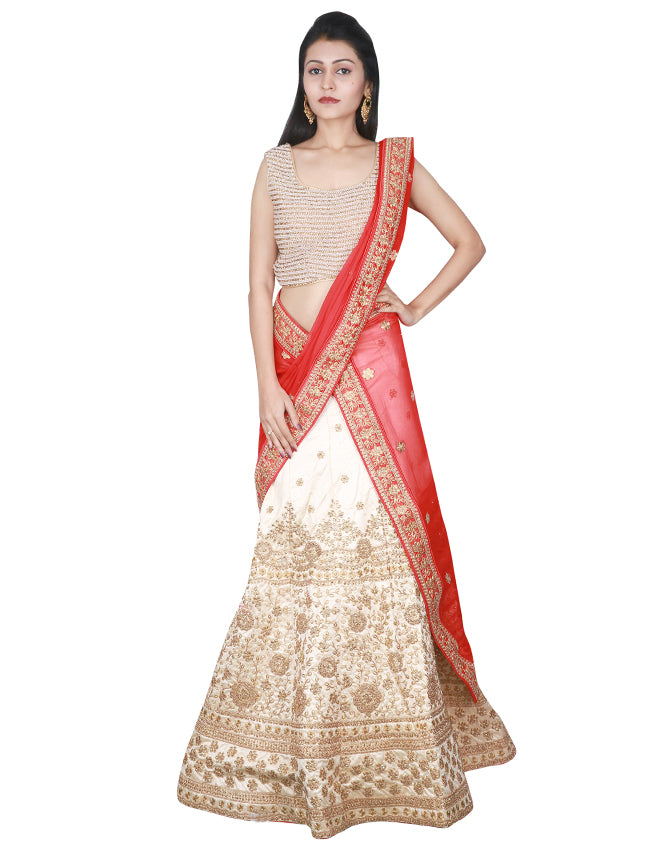 Cream unstitched lehenga with zardosi kundan and zari embroidery