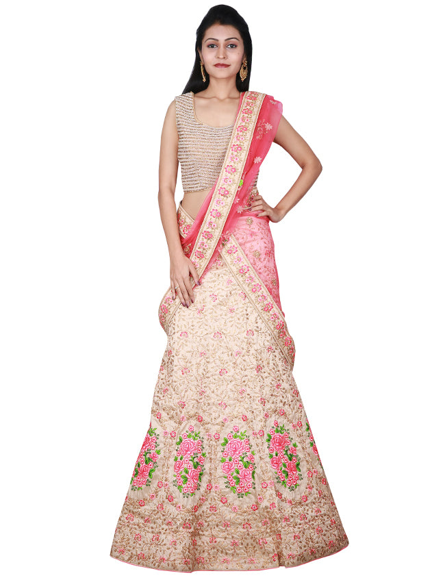 Beige unstitched bridal lehenga with zardosi and resham embroidery