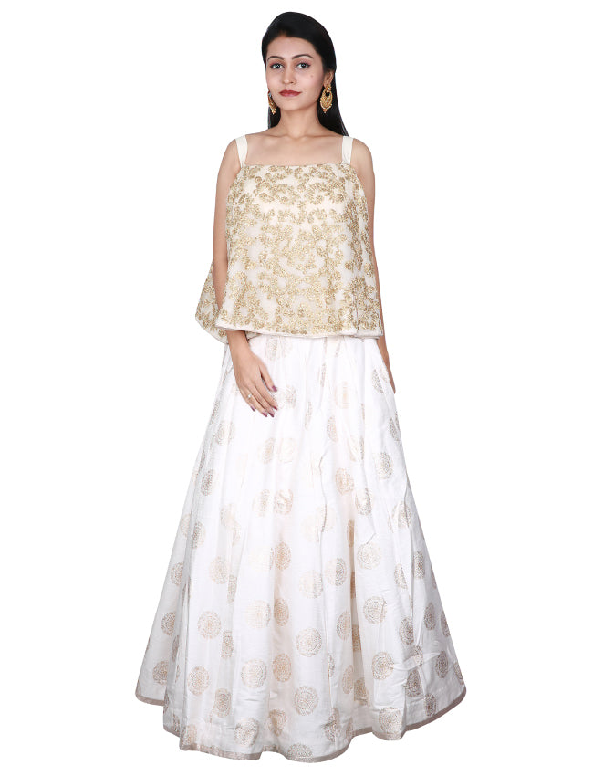 Cream cape style foil printed lehenga with zari embroidery