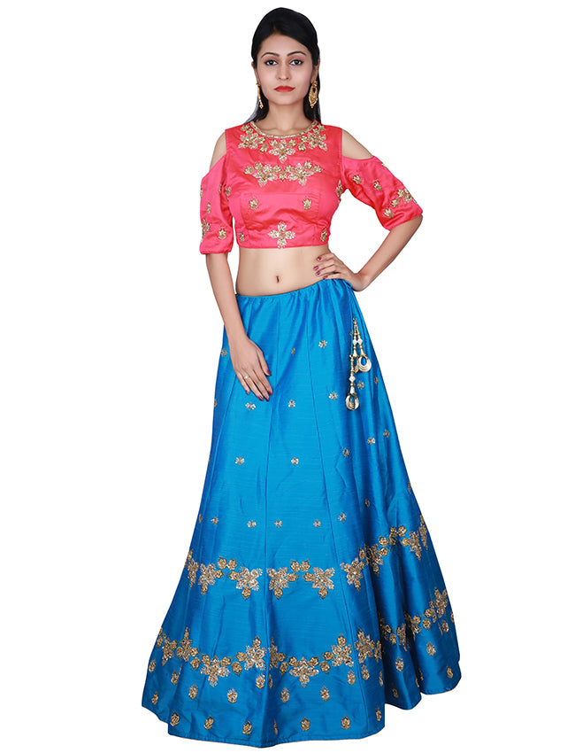 Peacock blue bridesmaid lehenga with handwork