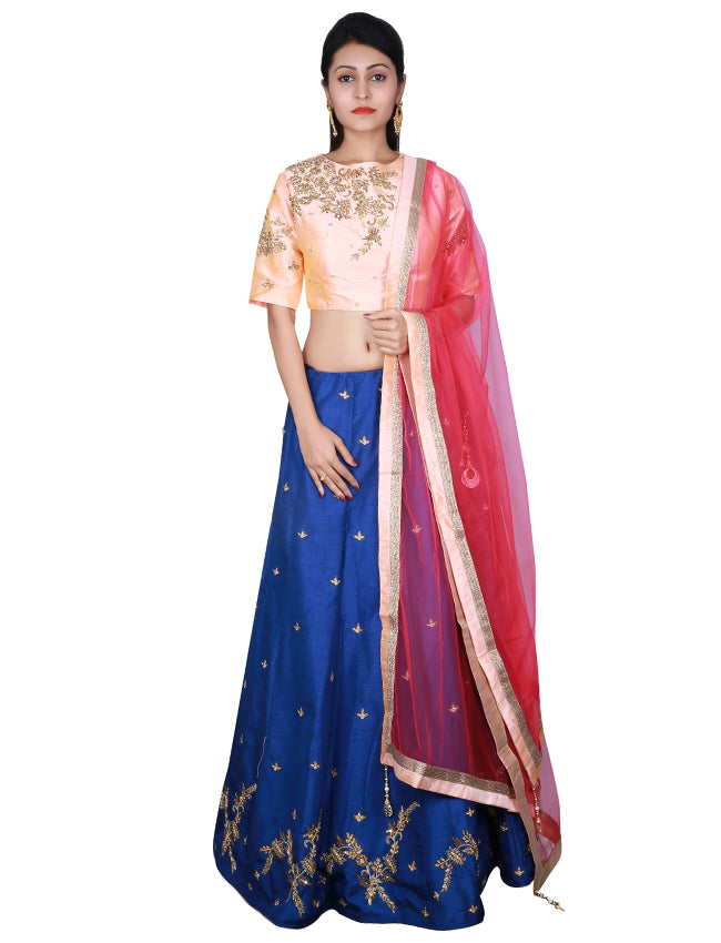 Navy blue and peach indowestern lehenga with handwork