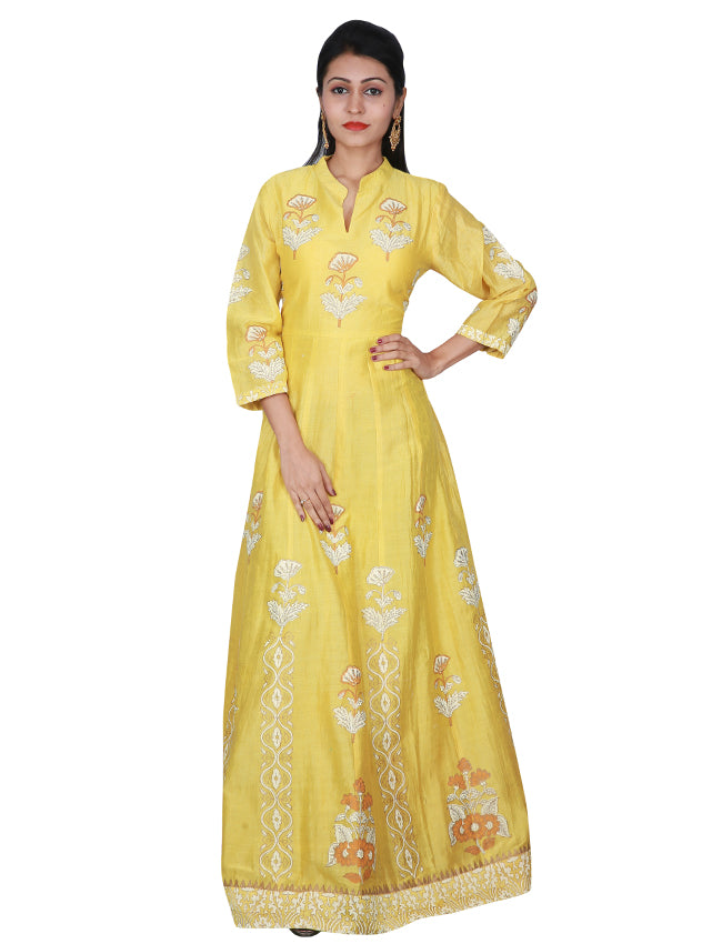 Yellow anarkali with flock print