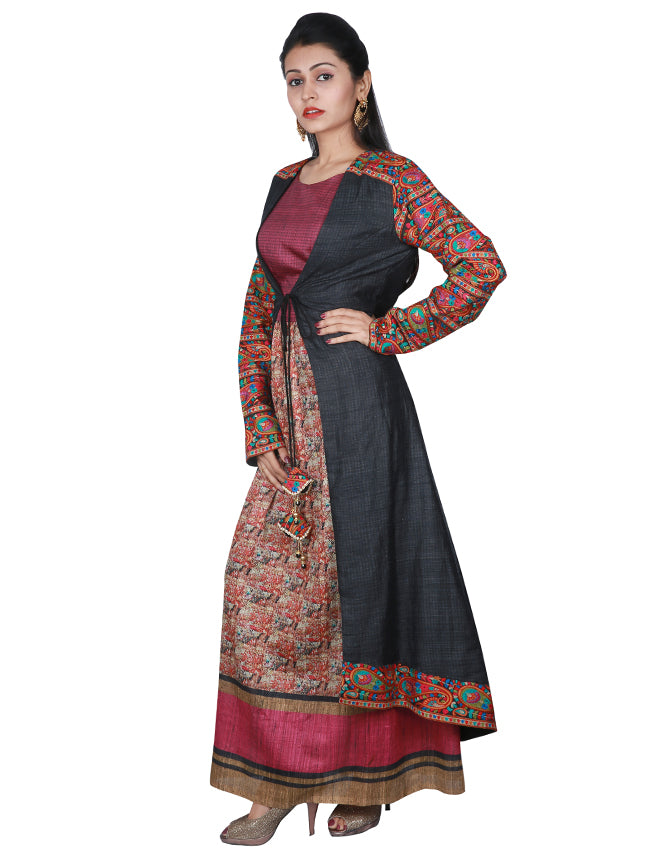 Black jacket suit with kashmiri embroidery