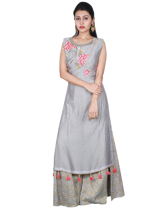 Grey palazzo suit with floral applique and handwork