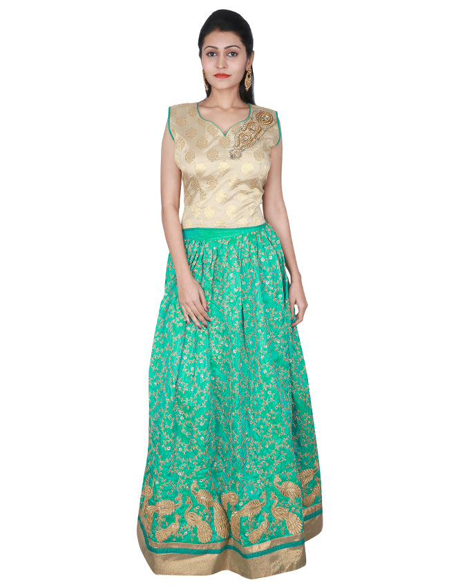 Turquoise crop top lehenga with zari cording