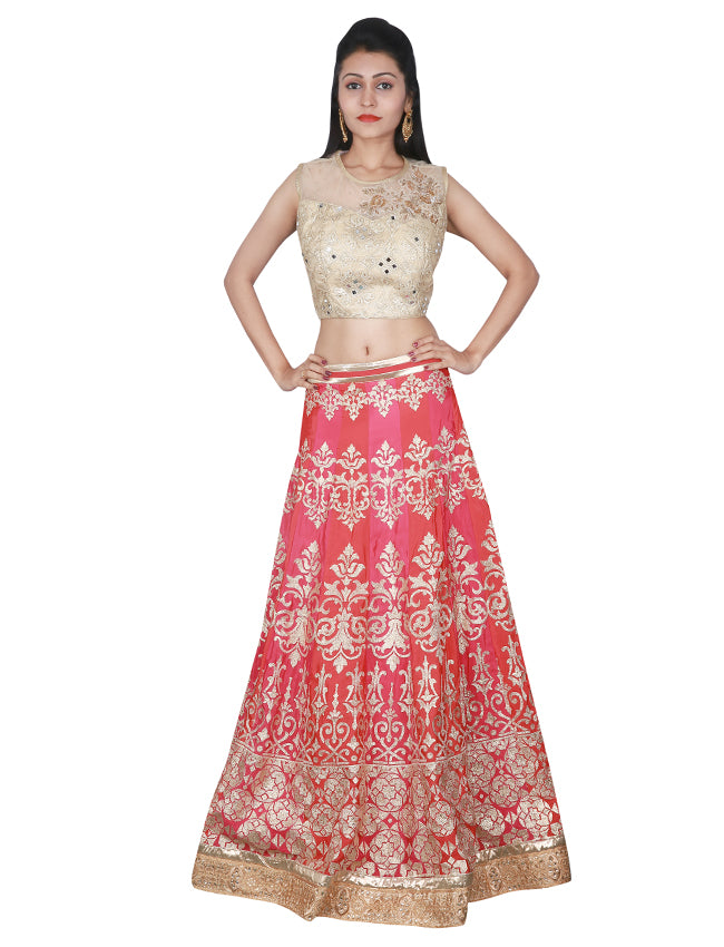 Rust dusty pink crop top lehenga with zardosi lacework and zari embroidery