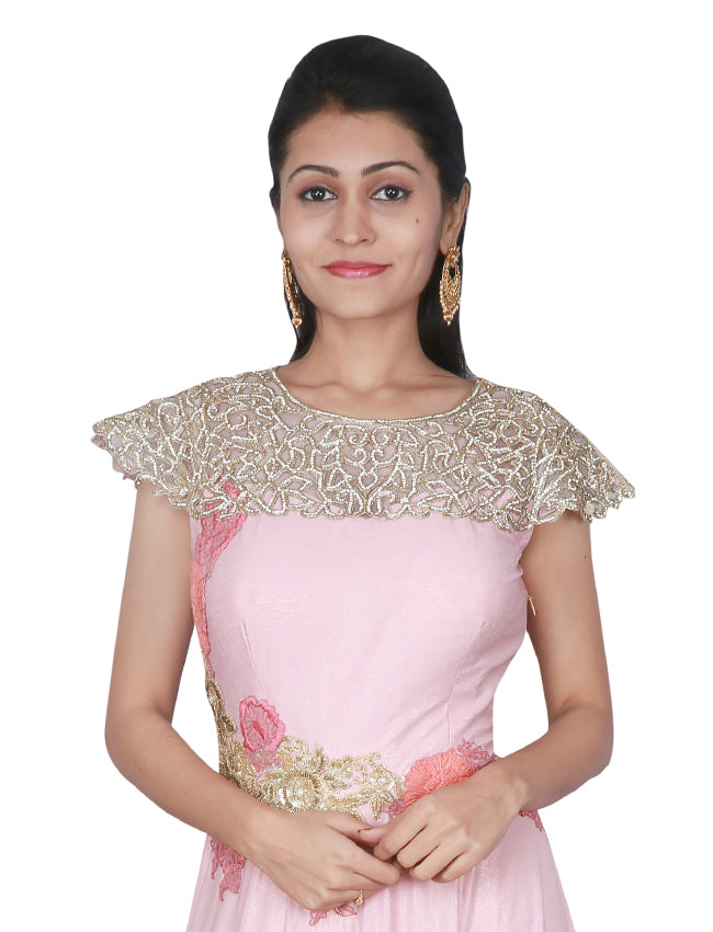 Rose pink party wear gown with diamante thread embroidery and handwork