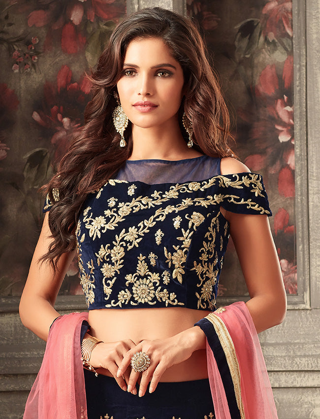 Navy blue crop top lehenga with kundan sequins and zari embroidery