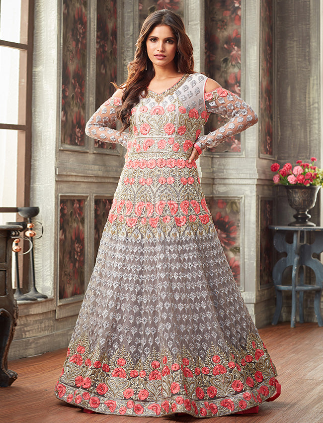 Grey traditional gown with resham zari embroidery and handwork