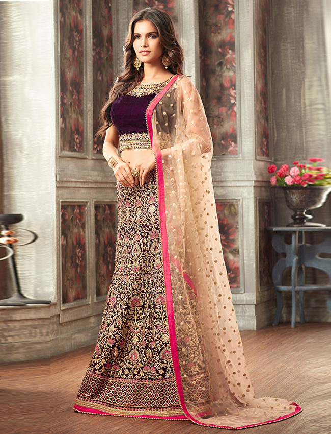 Wine crop top lehenga with mirror resham and zari embroidery