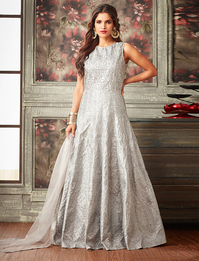 Grey traditional gown with kundan and resham embroidery