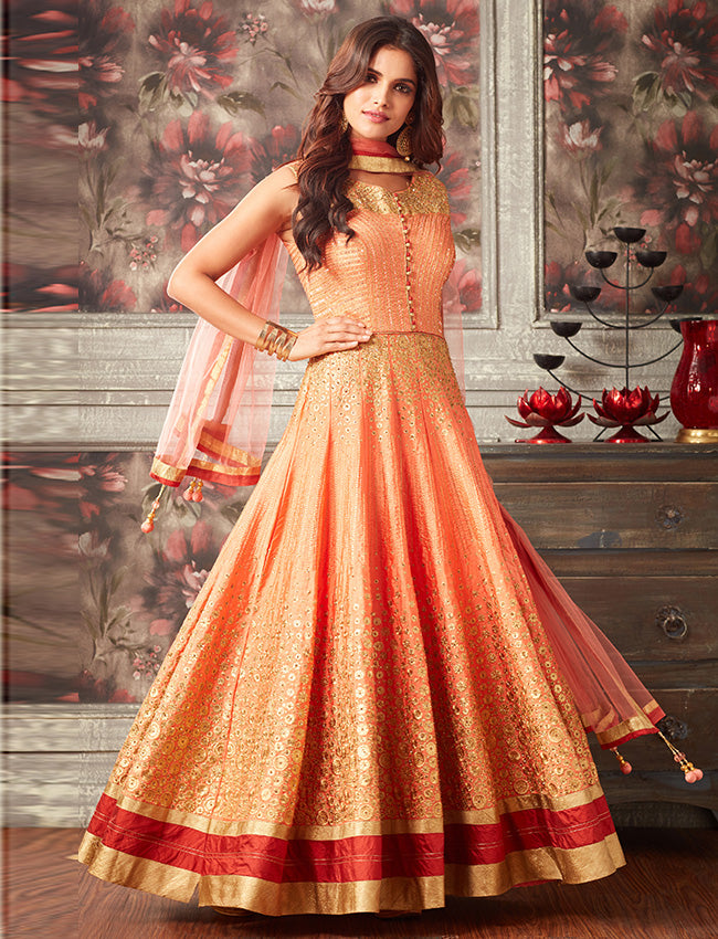 Orange indowestern gown with kundan and zari embroidery