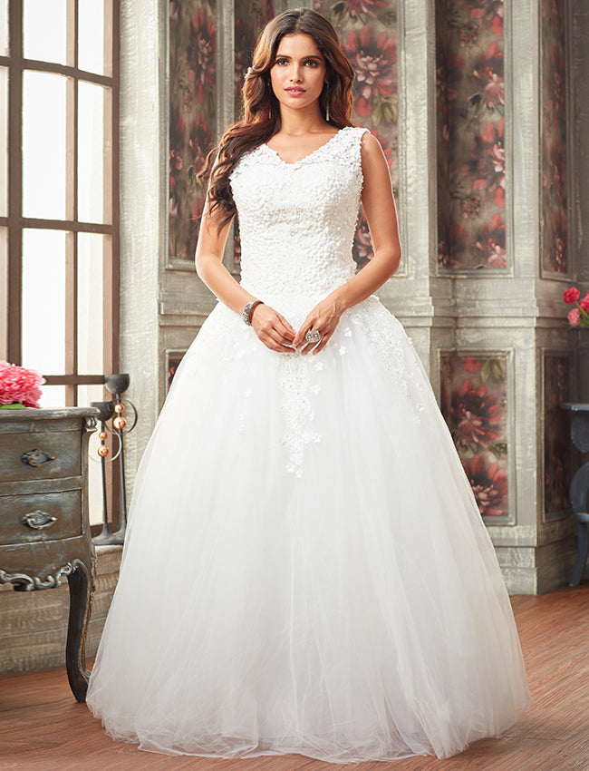 White indowestern bridal gown with floral applique and pearl, sequins work
