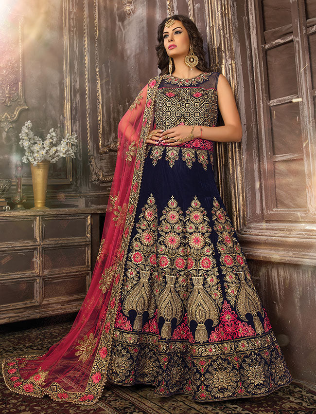 Navy blue traditional gown with kundan stones zari and resham embroidery