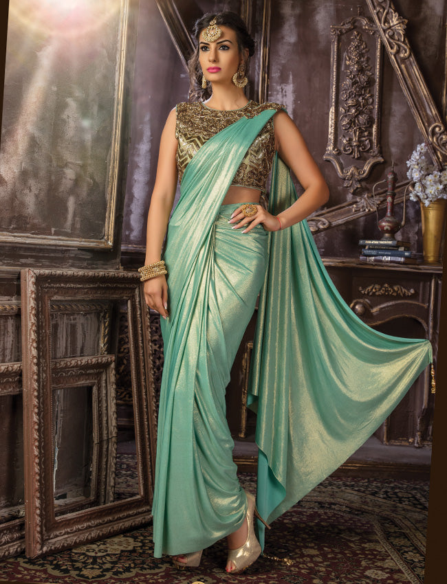 Turquoise ready to wear saree with handwork embellished readymade blouse