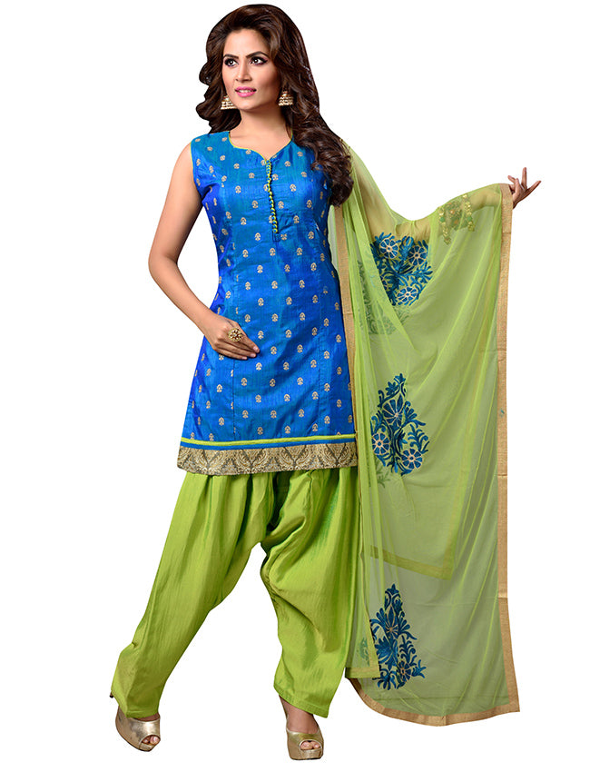 Royal blue patiala suit with zari embroidery