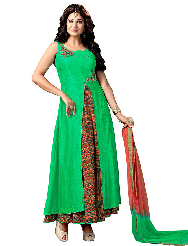 Parrot green designer suit with patchwork