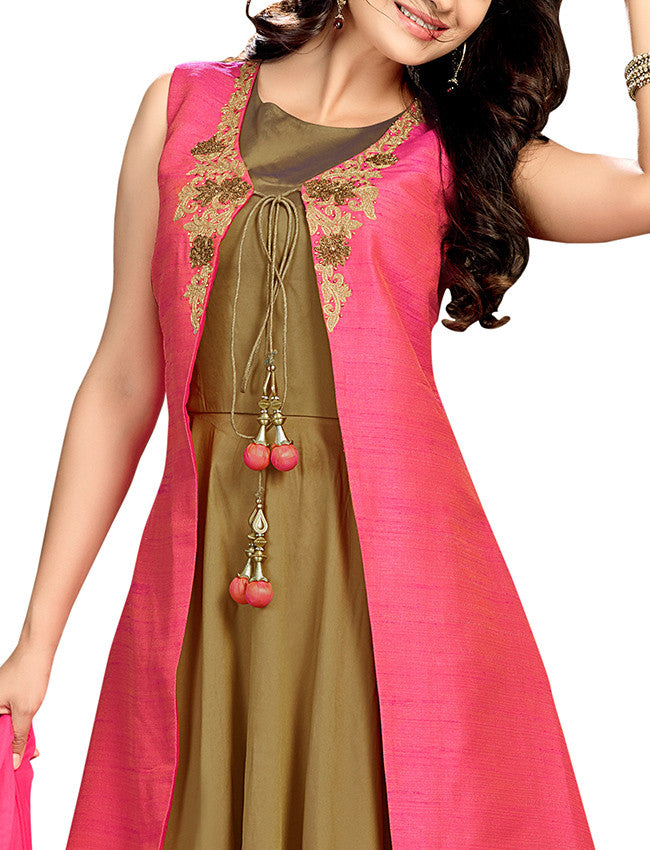 Coral pink jacket suit with zari embroidery