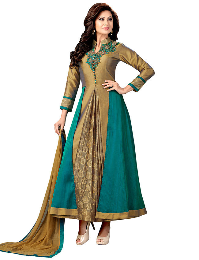 Teal green beige designer suits with embroidery