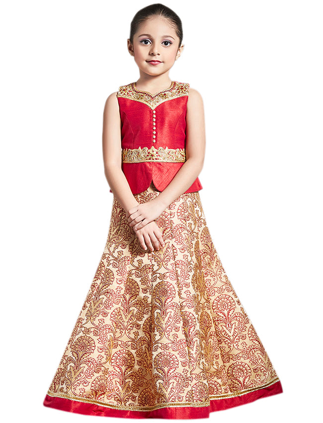 Beige red lehenga with zari embroidery and handwork