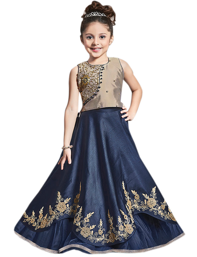 Navy blue coffee brown lehenga with zari embroidery and handwork