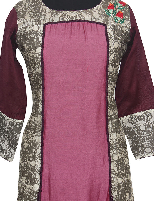 Onion pink and grey printed kurti with patchwork