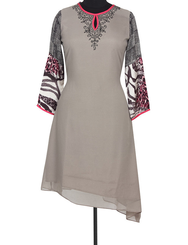 Black georgette kurti with zari embroidery