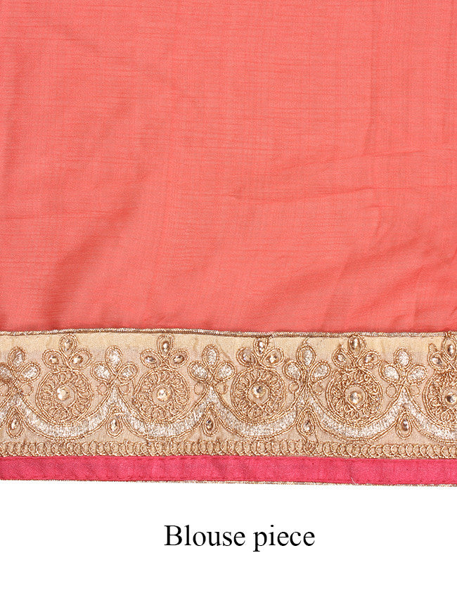 Coral saree with resham and zari embroidery