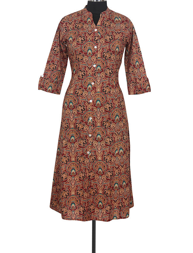 Brown A-line kurti with floral print