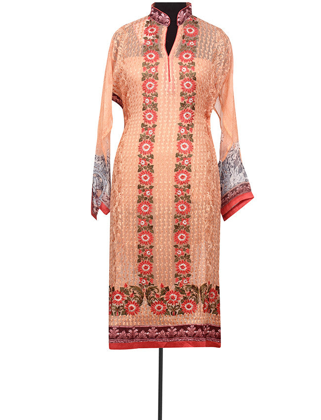 Peach printed semistitched suit with resham embroidery.