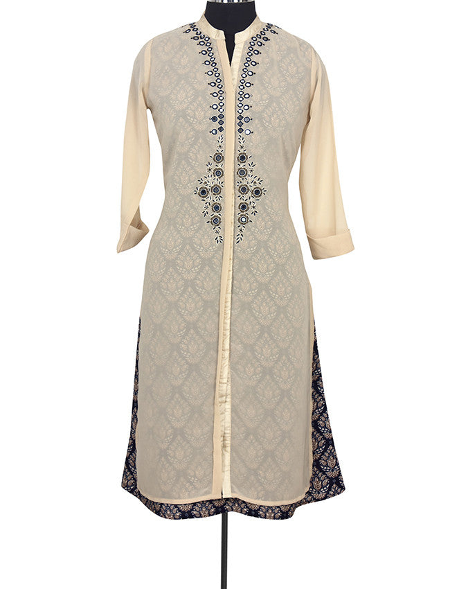 Beige straight cut kurti with mirror and beads work