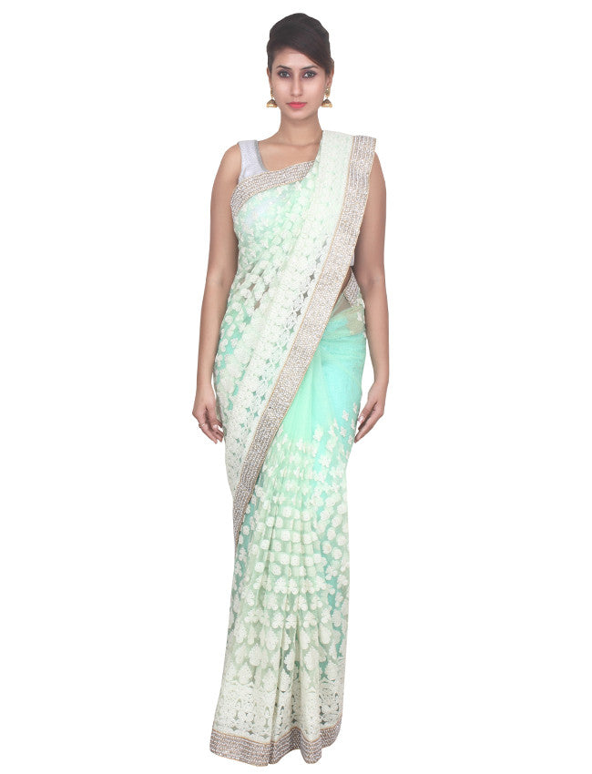 Pista green saree with beautiful thread embroidery