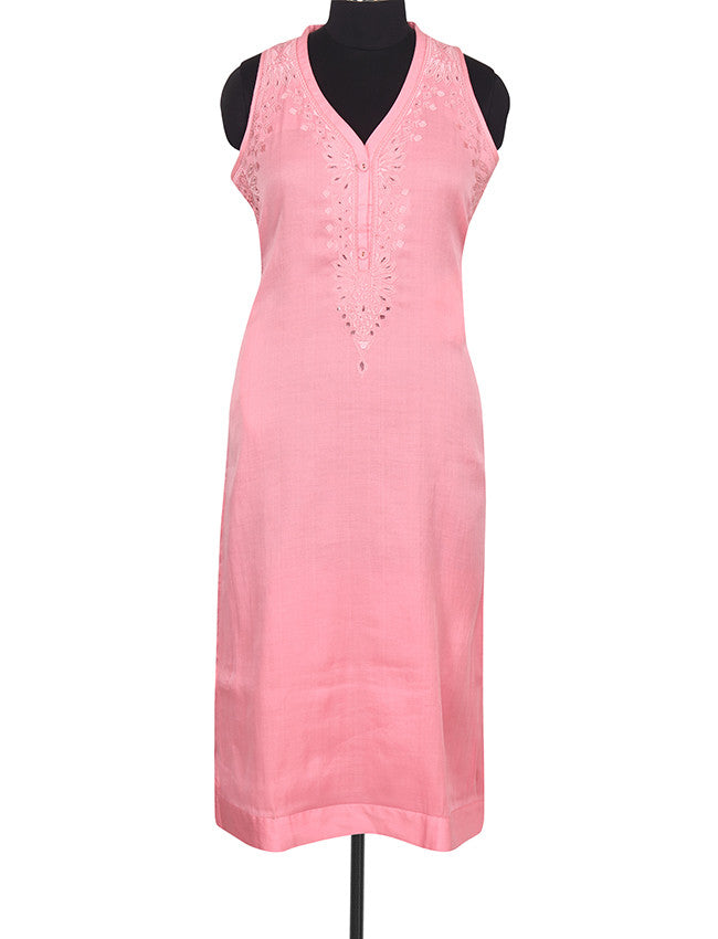 Rose pink straight cut kurti with resham cutwork