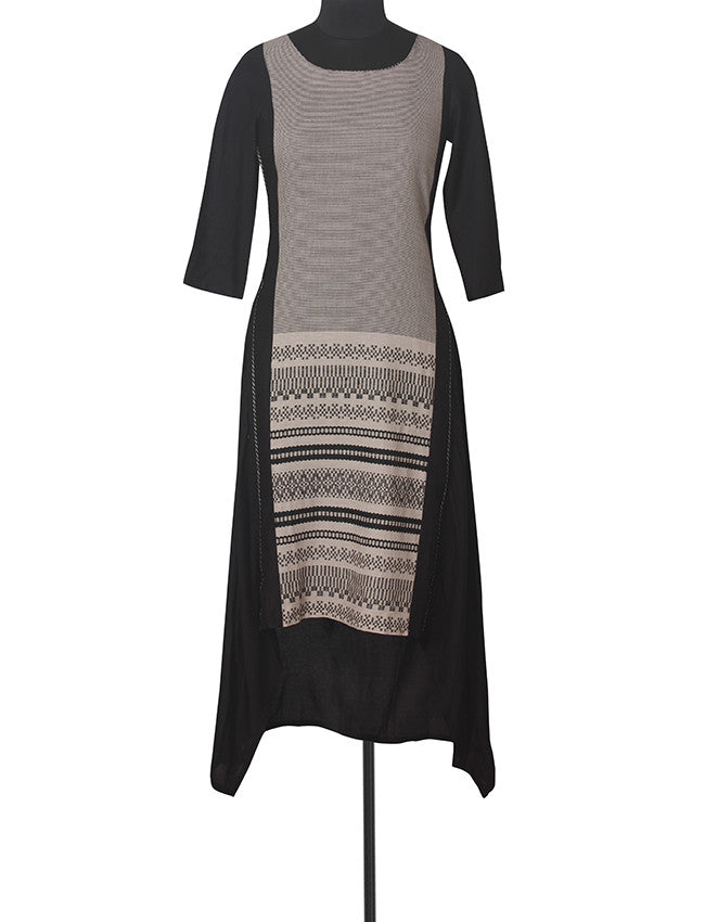 Black A-line kurti with self weaving design