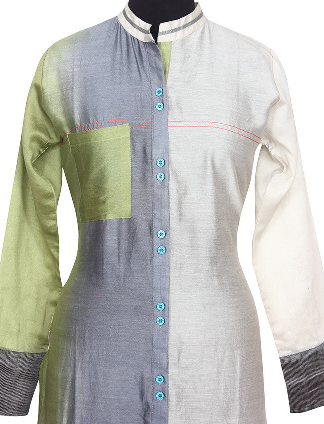 Multi color straight cut chanderi silk kurti
