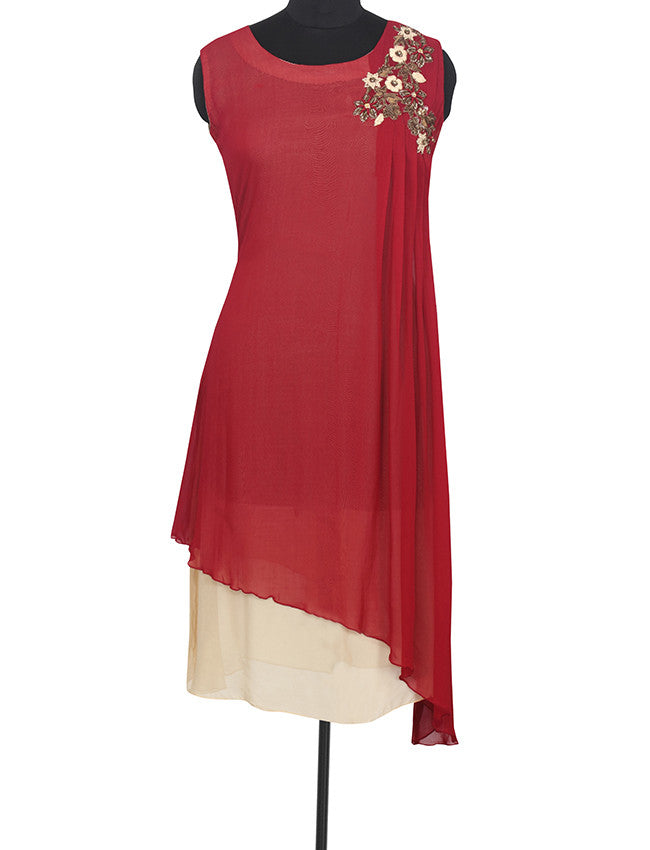 Red designer kurti with zardosi embroidery